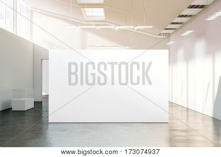 Blank white wall mockup in sunny modern empty museum 3d rendering. Clear big stand mock up in gallery with contemporary art exhibitions. Large hall interior with wide banner exposition template.
