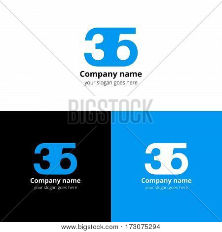 35 logo icon flat and vector design template. Monogram years numbers three and five. Logotype thirty five with blue color. Creative vision concept logo, elements, sign, symbol for card,