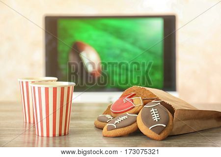 Creative cookies prepared for watching football match at home