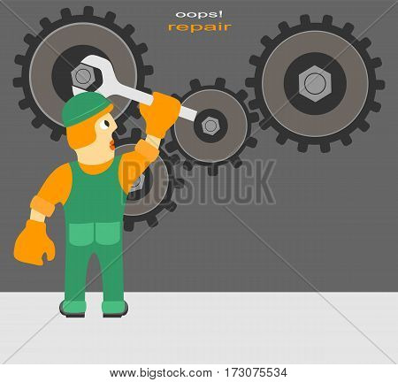 Funny Cartoon Composition on Repairs. Worker Repairs the Mechanism.