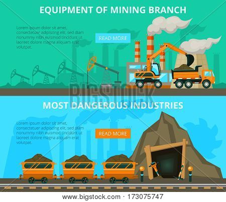 Underground mining of coal danger and equipment flat interactive horizontal banners website design abstract isolated vector illustration