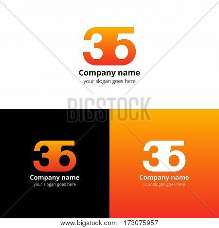 35 logo icon flat and vector design template. Monogram years numbers three and five. Logotype thirty five with orange gradient color. Creative vision concept logo, elements, sign, symbol for card,