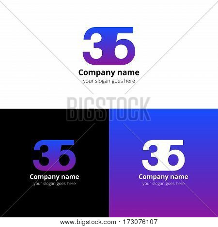 35 logo icon flat and vector design template. Monogram years numbers three and five. Logotype thirty five with pink-purple gradient color. Creative vision concept logo, elements, sign, symbol for card