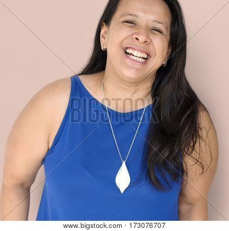Black Hair Woman Happy Smiling Studio Portrait