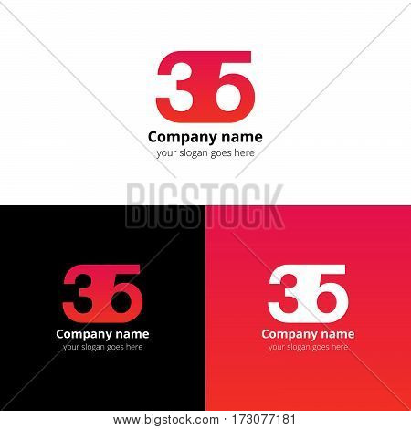 35 logo icon flat and vector design template. Monogram years numbers three and five. Logotype thirty five with red gradient color. Creative vision concept logo, elements, sign, symbol for card,