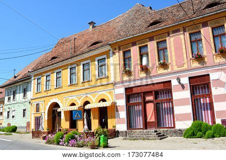 Typical houses in Biertan, one of the most important Saxon villages with fortified churches in Transylvania, having been on the list of UNESCO World Heritage Sites since 1993