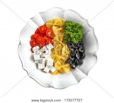 Plate with ingredients on white background