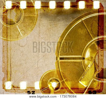 Vintage sepia film strip frame with coils.