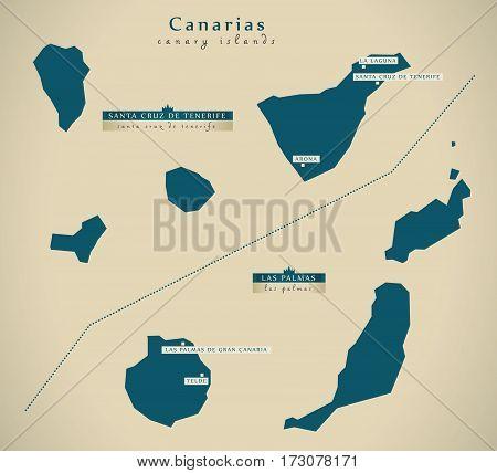 Modern Map - Canary Islands Spain Es Illustration