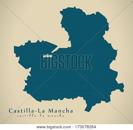 Modern Map - Castilla La Mancha Spain Es Illustration