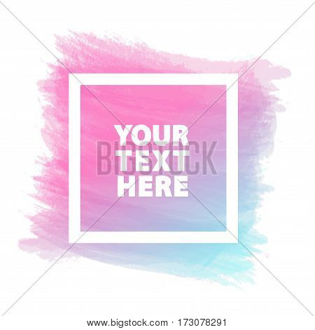 Template banner for sign such as black friday, promotion, special offer, advertisement, sale, hot price, discount poster, greeting card and with pink blue watercolor brush strokes shapes and frame.