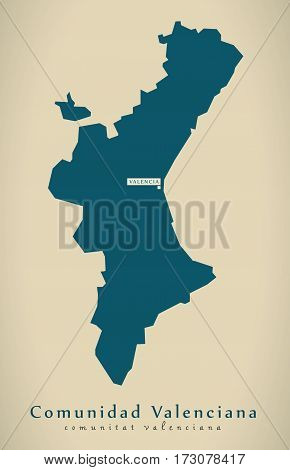 Modern Map - Comunidad Valenciana Spain Es Illustration