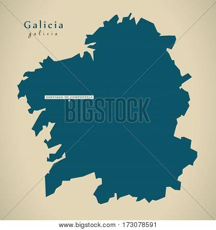 Modern Map - Galicia Spain Es Illustration