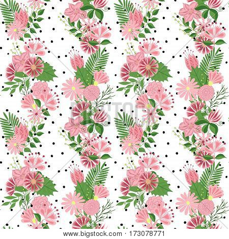 Beautiful seamless pattern in small abstract flower. Small colorful flowers. Cute simple spring flowers.