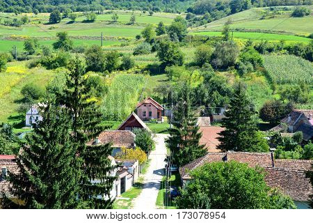 Aerial view of the viilage Biertan, one of the most important Saxon villages with fortified churches in Transylvania, having been on the list of UNESCO World Heritage Sites since 1993