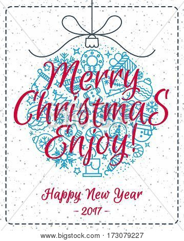 Christmas greeting card with christmas ball such as christmas line icons and sign Merry Christmas and Happy New Year on winter holiday background. Vector Illustration