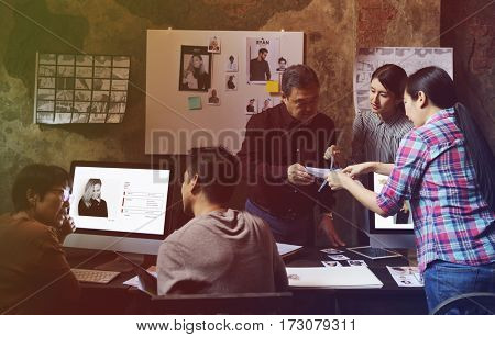 Photo Gradient Style with Working Job Career Casual Showing