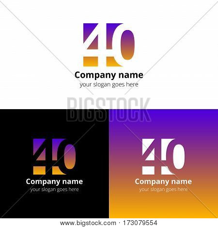40 logo icon flat and vector design template. Monogram years numbers four and zero. Logotype forty with pink-yellow gradient. Creative vision concept logo, elements, sign, symbol for card,
