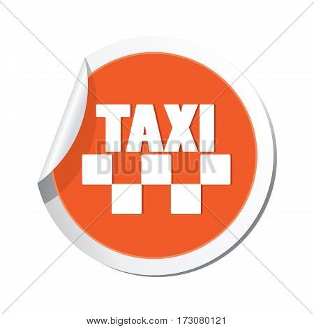 Orange sticker with taxi icon. Vector illustration