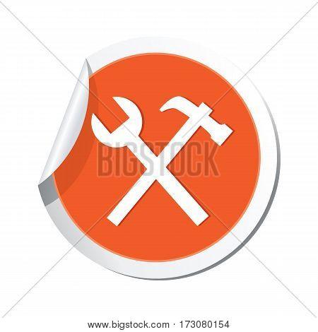 Orange sticker with tools icon. Vector illustration