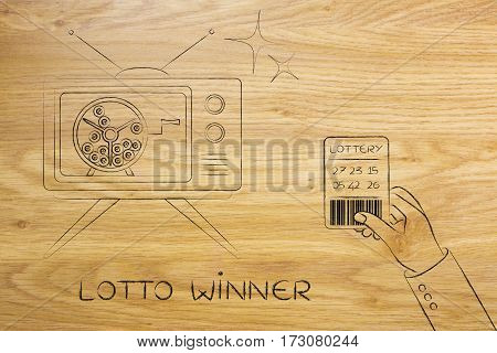 Lottery Draw On Tv And Hand With Winning Ticket