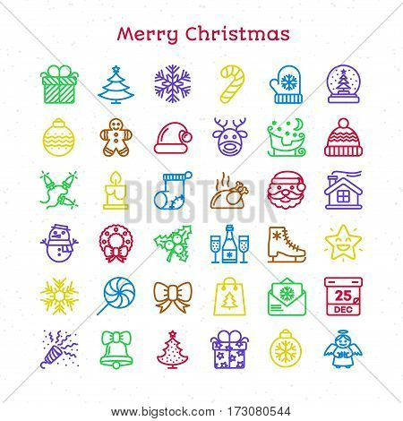 Merry Christmas line icons set color thin stroke style isolated on white background for your decoration and app design project. Happy New Year. Happy Holiday. Vector Illustration
