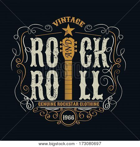 vintage rock and roll typograpic for t-shirt tee design