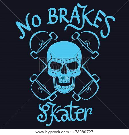 no brakes skater graphic for t-shirt tee design
