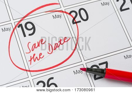 Save The Date Written On A Calendar - May 19