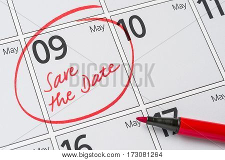 Save The Date Written On A Calendar - May 09