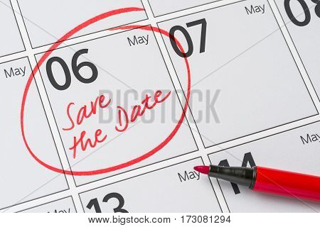 Save The Date Written On A Calendar - May 06