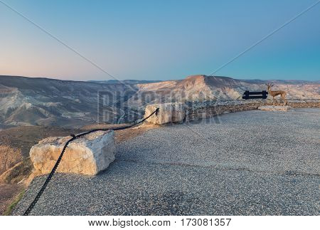 Scenic view on Ein Avdat National Park; the park and canyon is located in desert of the Negev that is the biggest desert in Israel