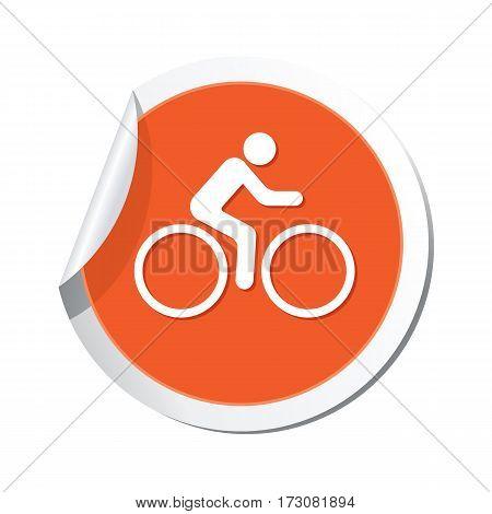 Cyclist icon on the orange sticker, vector illustration