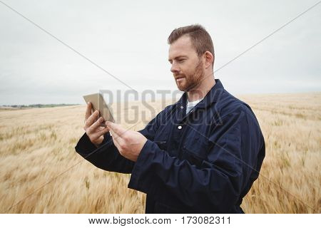 Farmer using digital tablet in the field on a sunny day