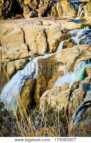 A close up of the twin falls at Shoshone National Forest