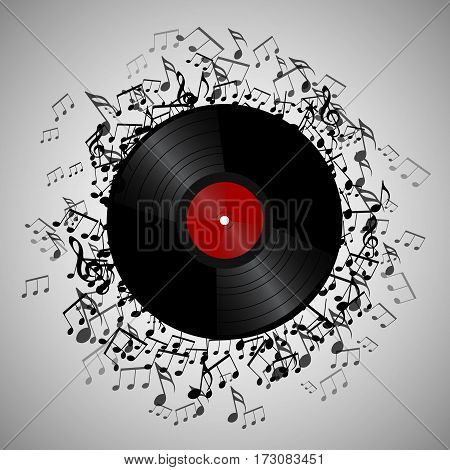 Illustration of vinyl record with music notes. Vector element for presentations covers and your creativity