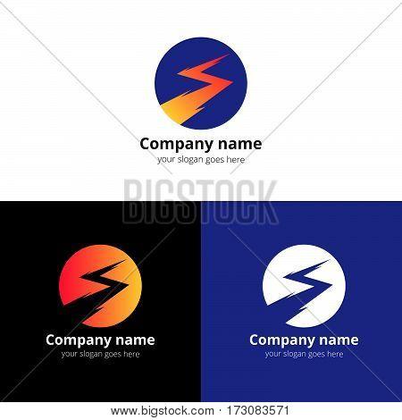 Lightning bold, thunder bolt, zipper, lighting strike expertise vector logo, icon design template. Logotype lightning in circle with orange-yellow gradient on white background.