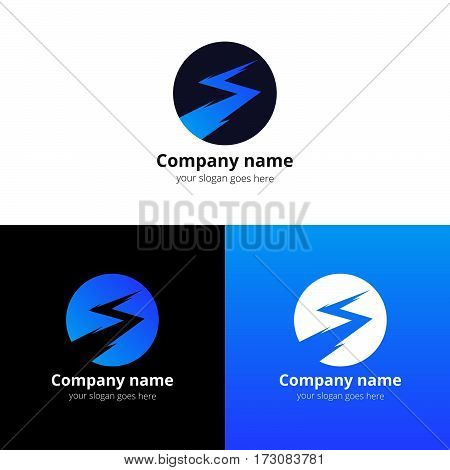 Lightning bold, thunder bolt, zipper, lighting strike expertise vector logo, icon design template. Logotype lightning in circle with blue gradient on white background.