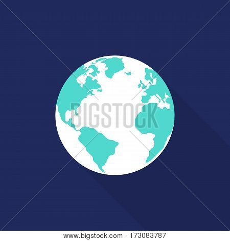 Globe icon flat design isolated on blue background vector illustration