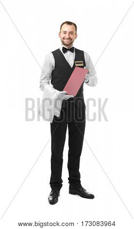 Handsome waiter with menu on white background