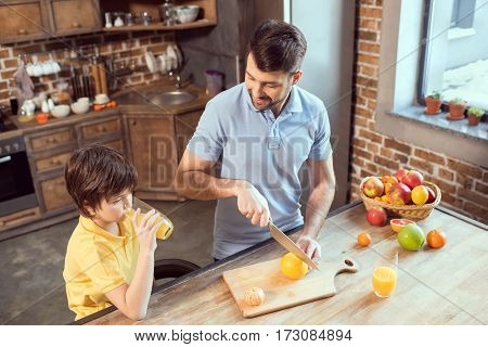 High angle view of father and son making and drinking fresh juice