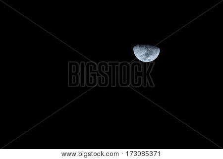 Image of waxing gibbous moon with clear sky.