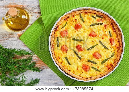 Salmon, Chees, Green Bean And Onion Quiche