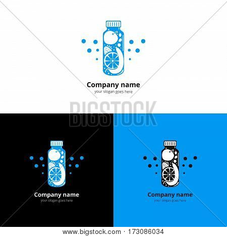 Vector fresh bottle with fruit logo. Drink, cocktails, fresh and smoothie flat blue icon, symbol, badge and design element. Super foods and health or detox diet food concept.
