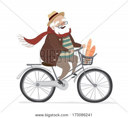 Vector elderly man on a bicycle. Elderly exercising. Active lifestyle. Flat cartoon vector illustration. Objects isolated on a white background.