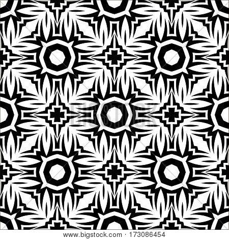 Decorative Retro Seamless Pattern. Ornamental Black White Background