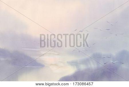 Flying flock of swans watercolor. Mist landscape
