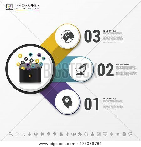 Infographic design template. Briefcase with icons. Vector illustration.