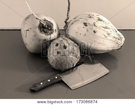 three different coconuts with machete on table horizontal view greyscale photo