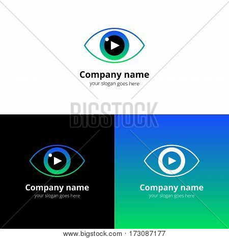 Eye video, media, music sound button and play icon vector logo. Movie film strips flat logo icon vector template. Symbol and button with green-blue gradient for cinema, television, industrial service.